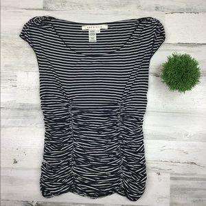 Max Studio Stripe Rushed Top Blouse Size Small